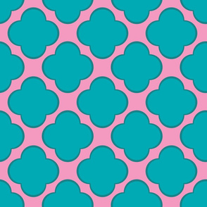Clovers (Pink and Teal) 12inch repeat, David Rose Designs