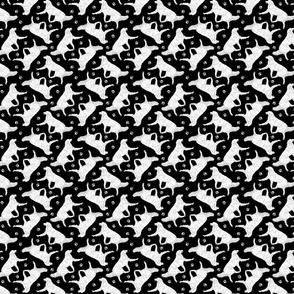 Tiny Trotting Kuvasz and paw prints - black