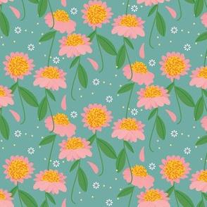 Tiny Sunshine Wildflower / Aqua