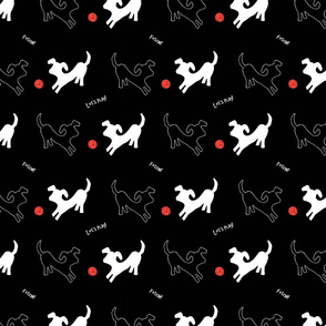 Red Ball & Dogs - white on black- medium