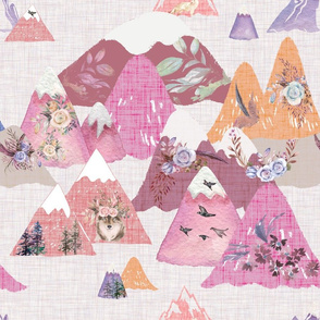 floral dreams pink mountains are calling