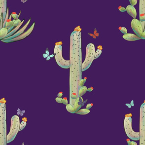 Cactus & Butterflies 2 purple