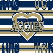 UC Davis Aggies Blue Gold Stripes Heart Team School Colors