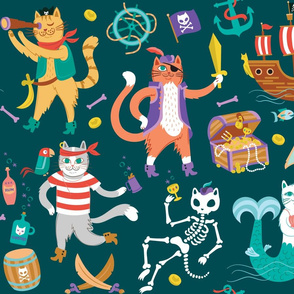 Pirate Cats in Deep Ocean Green