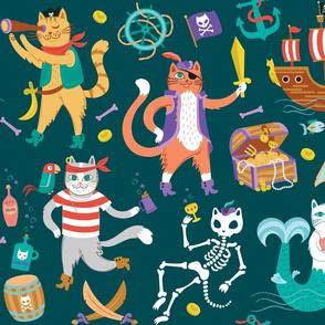 Pirate Cats in Deep Ocean Green
