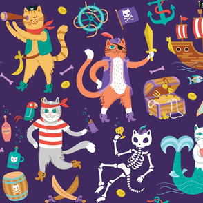 Pirate Cats in Treasure Purple