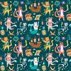 Pirate Cats in Deep Ocean Green {small}
