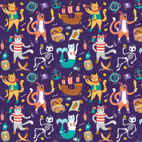 Pirate Cats in Treasure Purple {small}