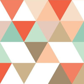 Geometric Triangle Wholecloth by Lizzie and Max | Peach, Persimmon, Tan, Mint, Brown, White | LM102