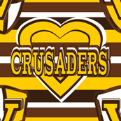Valparaiso Crusaders Stripes Heart Team School Colors Brown Gold White