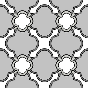 Morocco (Gray on Gray on White) 9inch repeat, David Rose Designs
