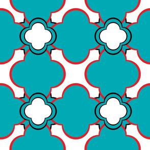Morocco (Teal and Orange) 9inch repeat, David Rose Designs