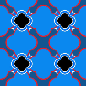 Marocco (Blue with Red and Black) 9inch Repeat, David Rose Designs