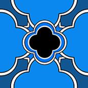Morocco (Blue and Black Mini Print) 1inch repeat, David Rose Designs