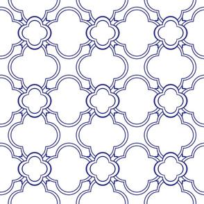 Morocco (White and Blue) 6inch repeat, David Rose Designs