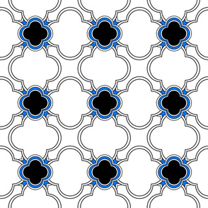 Morocco (White with Blue and Black) 6inch repeat, David Rose Designs