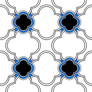 Morocco (White with Blue and Black) 9inch repeat, David Rose Designs