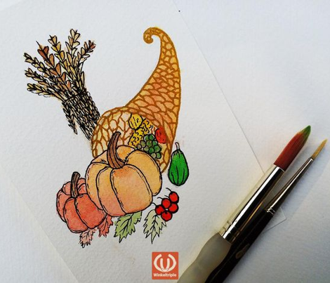 Thanksgiving Cornucopia Harvest in Watercolor light yellow Large Scale