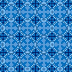 Greek Circle Cross in Blue