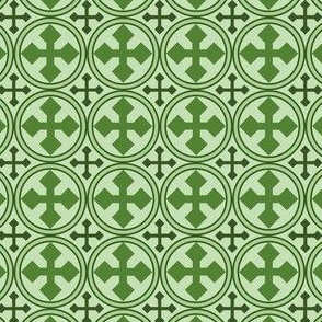 Greek Circle Cross in Green