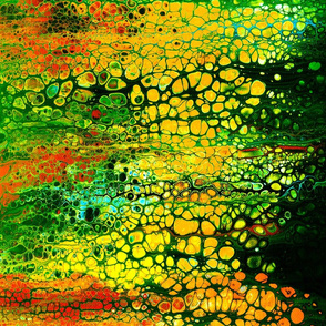 pour paint 2 green yellow red black orange
