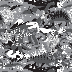 Dino world | black and white