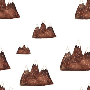 moutain watercolor brown