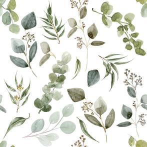 Large // Earth Tone Eucalyptus // White