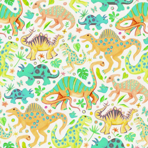 Happy Dinos - citrus colors, large