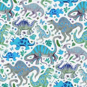 Happy Dinos - blue green, medium
