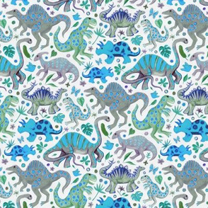 Happy Dinos - blue green, small