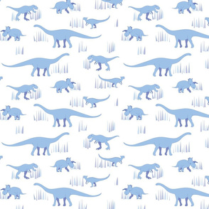 dinosaurs pattern- blue-medium