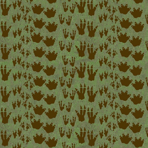 Camo Dinosaur Tracks Striped Print