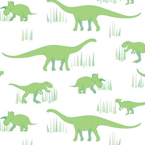 dinosaurs pattern- green-large