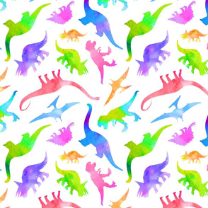 Rainbow Dinosaurs in Watercolor