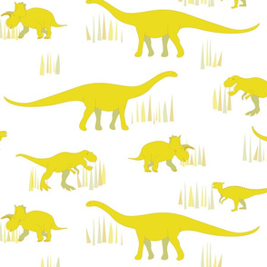 dinosaurs pattern- yellow-large