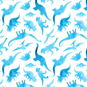 Watercolour Dinosaurs in Blue
