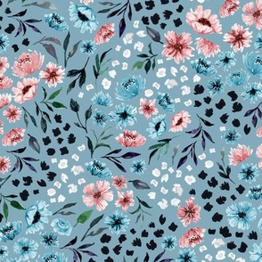 Ditsy Spring Watercolor Flower V.01-Light Blue