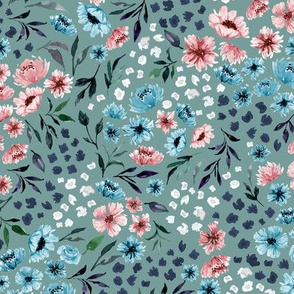 Ditsy Spring Watercolor Flower V.01-Teal