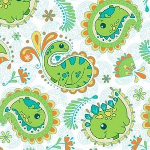 Dinosaurs Paisley - Summer_Bg White