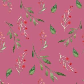 Tossed Floral Spray Rose Pink