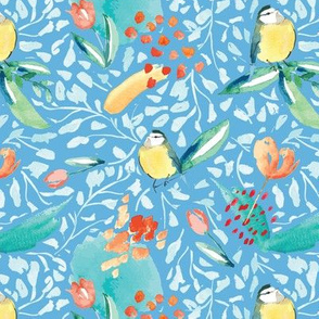 blue tit birds seamless repeat pattern