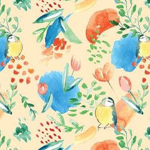 birds watercolor flower seamless repeat