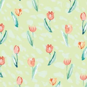 watercolor red tulips with green background
