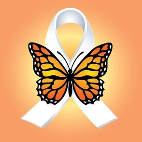 White Ribbon and butterfly on Peach