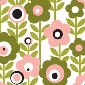 Marguerite* (Mona) || vintage sheet mod 70s 60s flower floral leaves stem garden spring summer olive green living coral pastel avocado