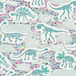 Dinosaur Fossils -  aqua on white - Medium