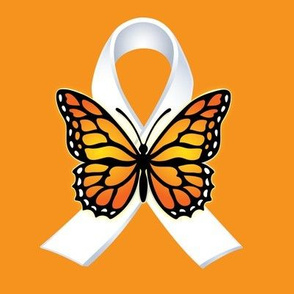 butterfly and white ribbon on orange
