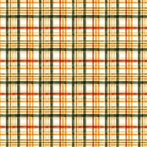 (micro scale) Fall Plaid - Watercolor - thanksgiving - orange & green - LAD19BS