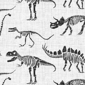 Dinosaurs - Ivory and Black - Linen